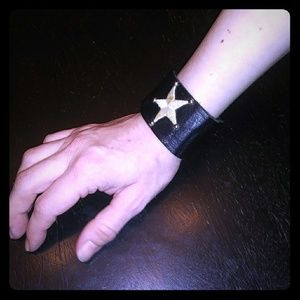 Goth Punk Metal Studded Star Cuff Bracelet!